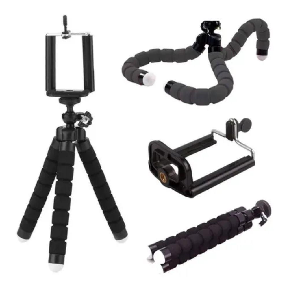 Mini Tripé para Câmera e Celular Flexível 360 Preto
