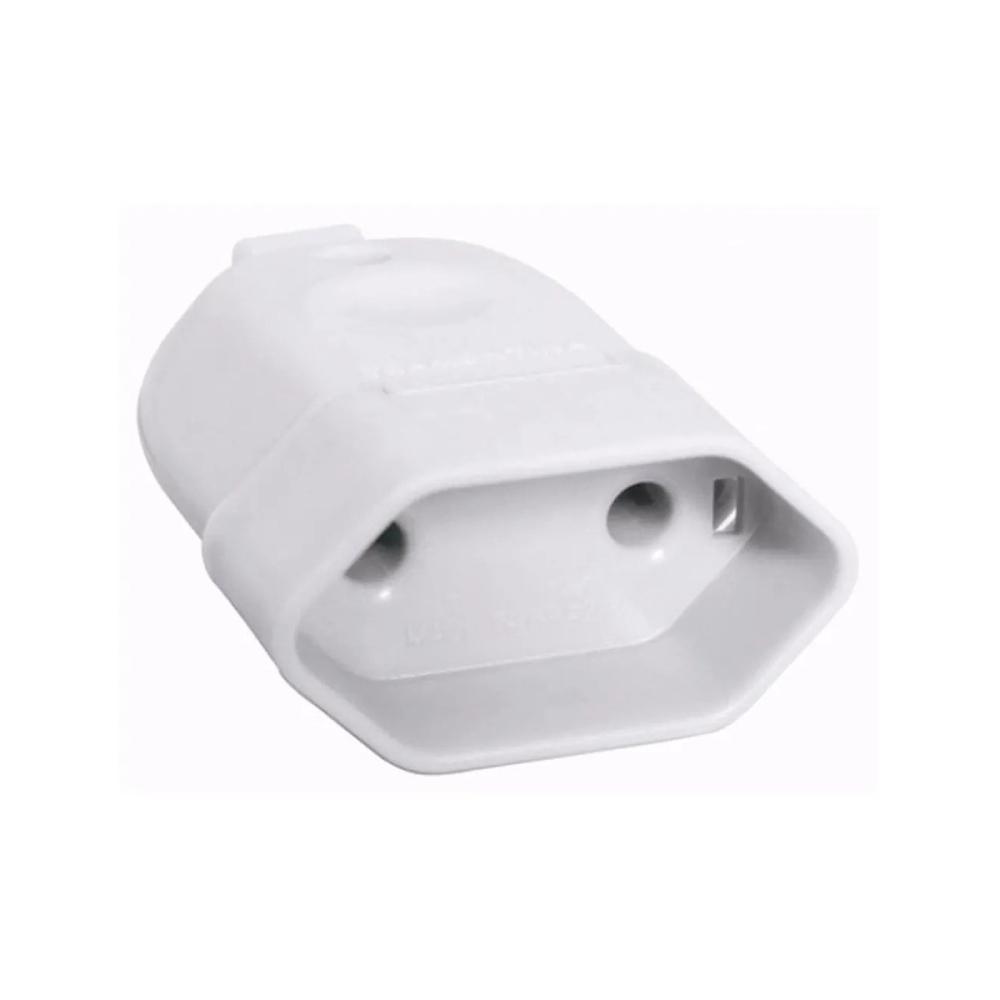 Plug de tomada Fêmea 10A 2Pinos Luster branco