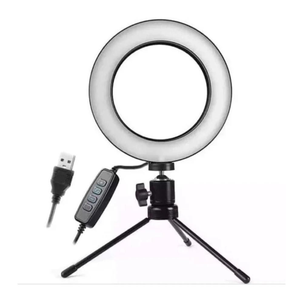 Ring Light 16cm com Tripé  - Casa do Roadie