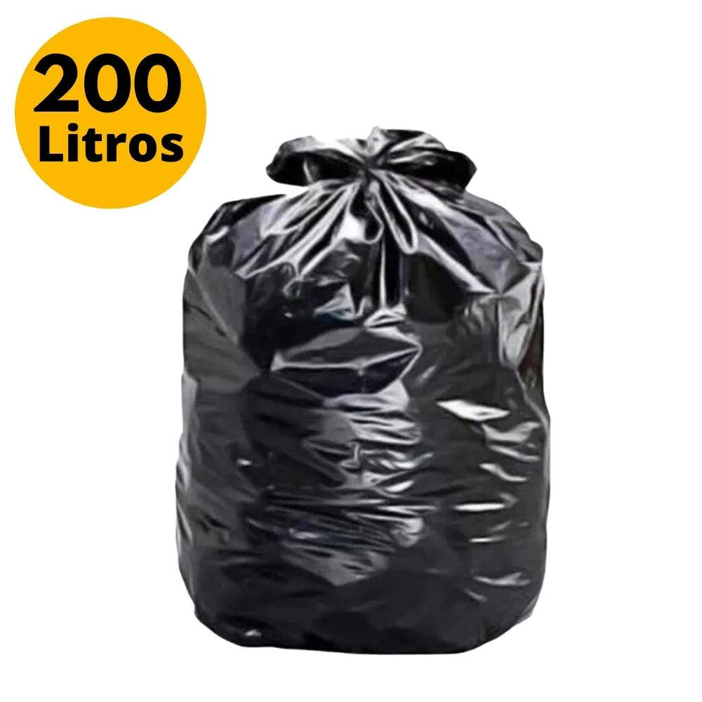Saco de Lixo 200L  Reforçado Preto - 25 unidades