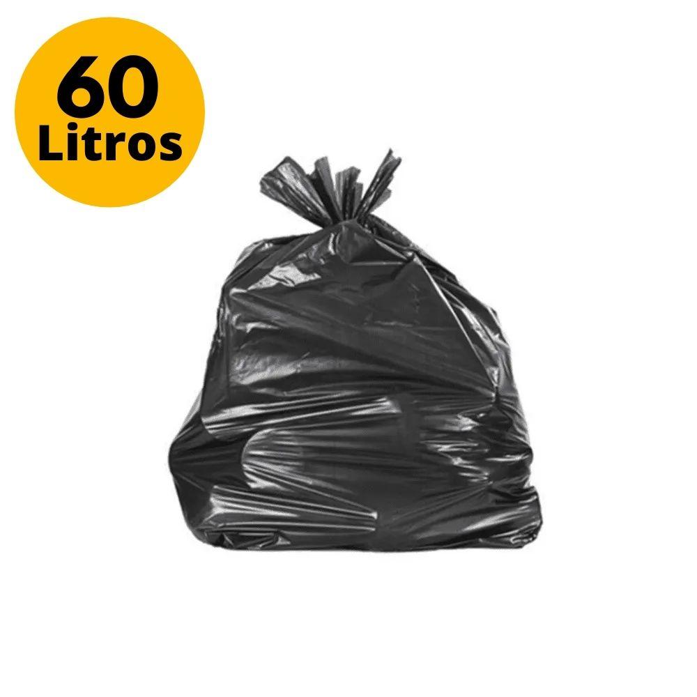 Saco de Lixo 60L Reforçado Preto - 110 Unidades