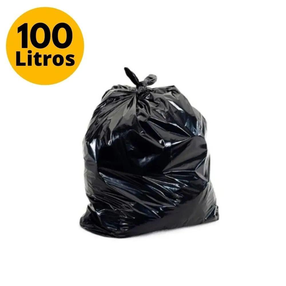 Saco de Lixo Reforçado 100L 5kg Preto 50 Unidades