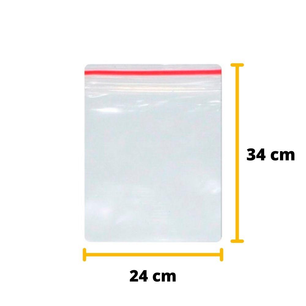 Saco Zip Lock N10 24cm X 34 cm Transparente - 100 unidades