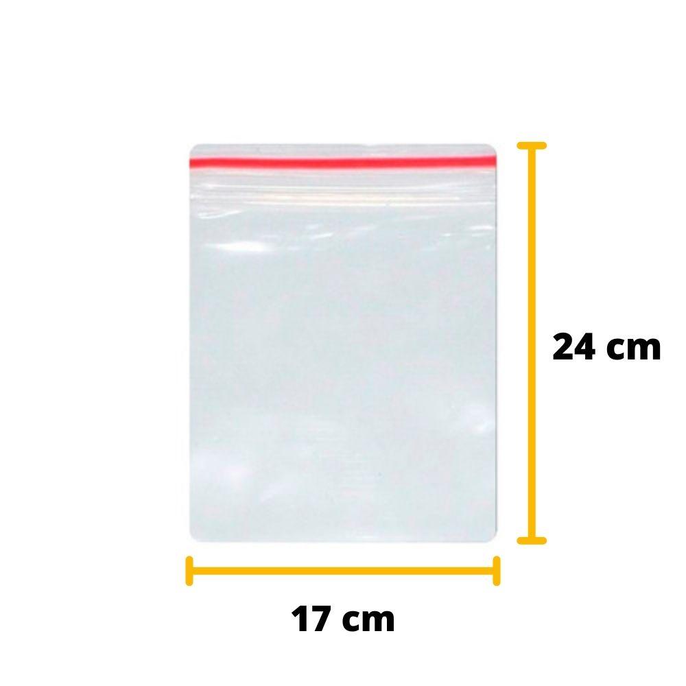 Saco Zip Lock N8 24cm x 17cm Transparente - 100 unidades