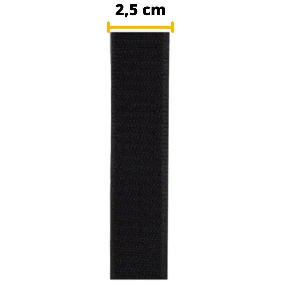 Tira de Contato Adesivo Macho Velfix 25mm X 1m Preta