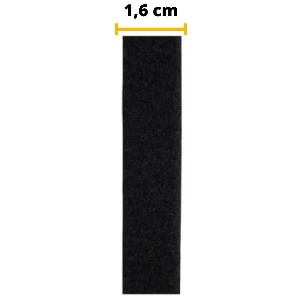 Tira de Contato velcro injetado Fêmea Velfix 16mm X 1m Preto  - Casa do Roadie