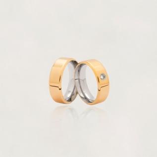 Aliança em Ouro 10k com Aço Cirúrgico Largura : 7,4 mm