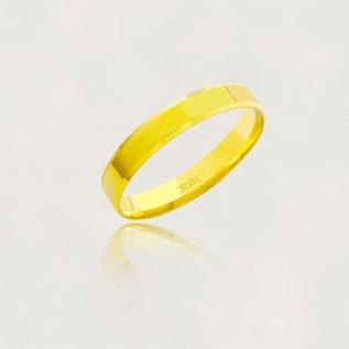 Aliança em Ouro 10k Plana Facetada Largura : 3,5 mm