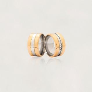 Aliança em Ouro 18k com Aço Cirúrgico sem Zircônia Largura : 11,4 mm