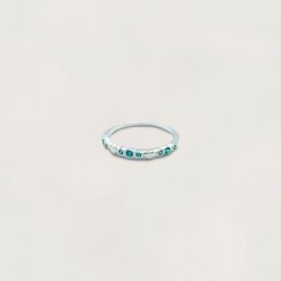 Anel em Prata 0925 1/2 Aliança com Zircônias Azul