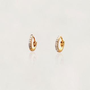 Argola Semi Jóia com Zircônias Banhada a Ouro 18k Tamanho : 1.0 cm