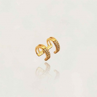 Brinco Piercing Duplo Semi Jóia com Zircônias Banhado a Ouro 18k Tamanho : 1.5 cm