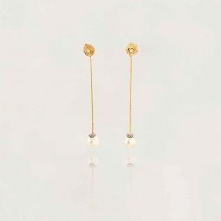 Brinco Semi Jóia Fio/Pérola (sintética) Banhado a Ouro 18k Tamanho : 5.0cm