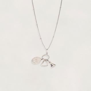 Cordão Semi Jóia Patuá Rodinado com São Bento Nossa Senhora e Coração com Zircônias Tamanho : 70.0 cm