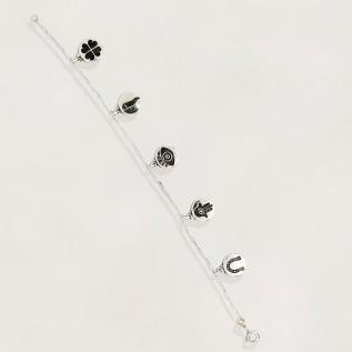 Pulseira em Prata 925 com Pingentes da Sorte , fio cadeado alongado , tamanho : 17 cm