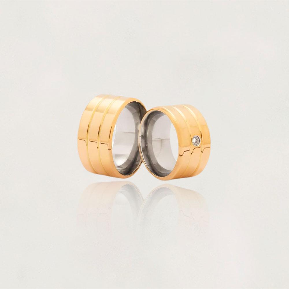 Aliança em Ouro 10k com Aço Cirúrgico Largura : 11,3 mm