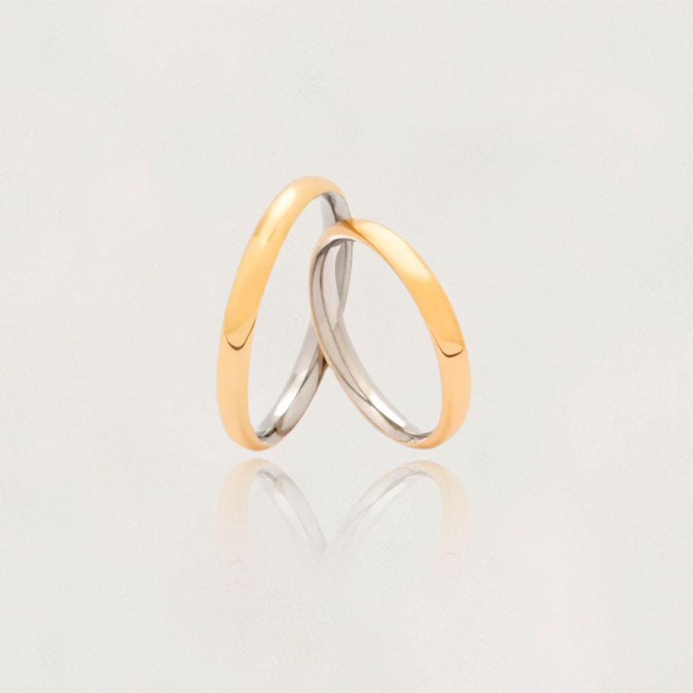 Aliança em Ouro 10k com Aço Cirúrgico Largura : 3,5 mm