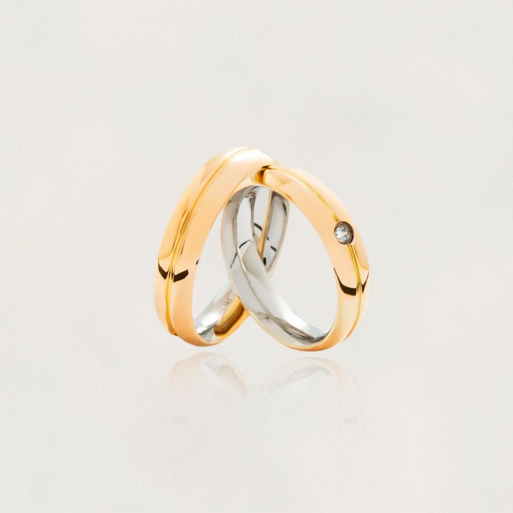 Aliança em Ouro 10k com Aço Cirúrgico Largura : 5,3 mm