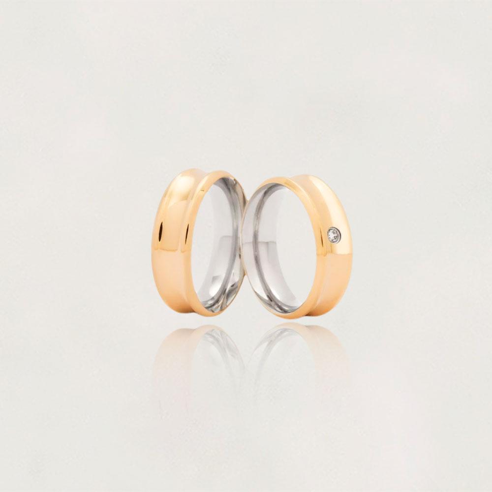 Aliança em Ouro 10k com Aço Cirúrgico Largura : 7,3 mm