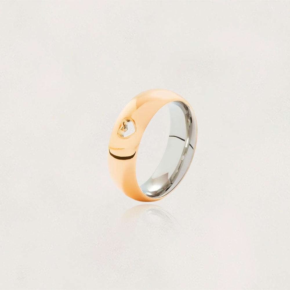Aliança em Ouro 10k com Aço Cirúrgico Largura : 7,7 mm