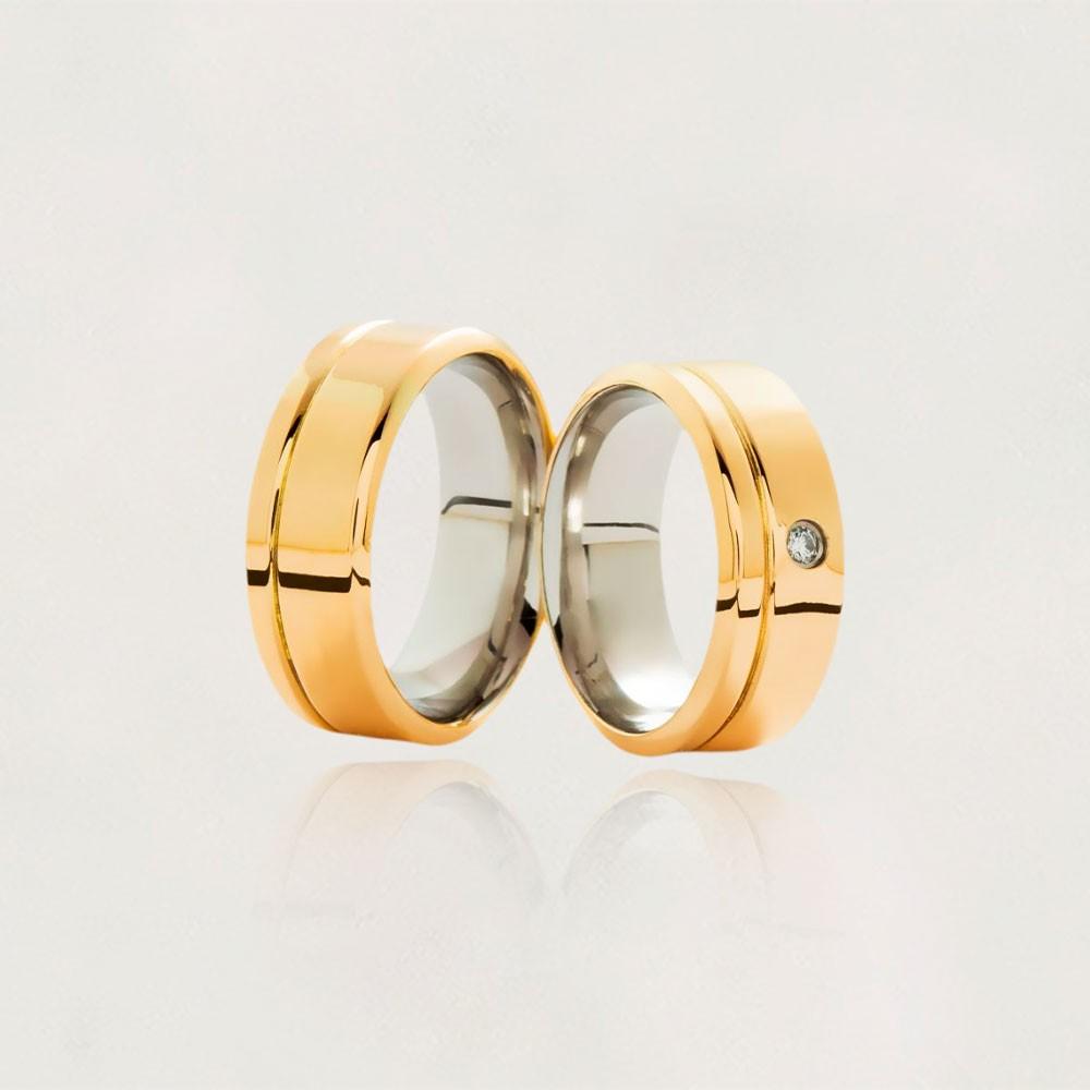 Aliança em Ouro 10k com Aço Cirúrgico Largura : 8,3 mm