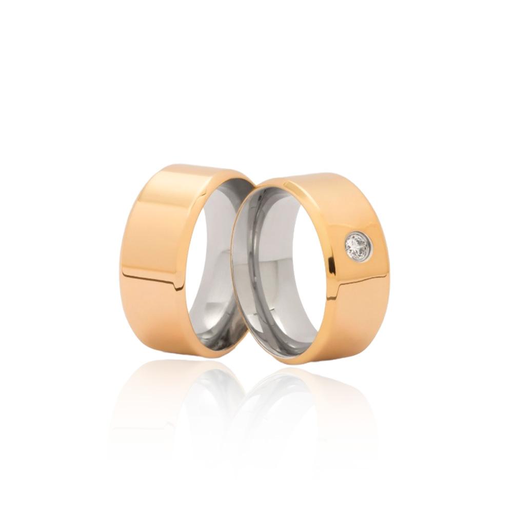 Aliança em Ouro 10k com Aço Cirúrgico  - largura : 9,4mm  -