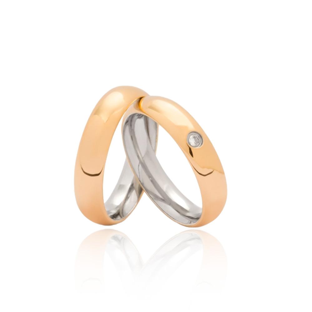 Aliança em Ouro 10k com Aço Largura : 5,2 mm