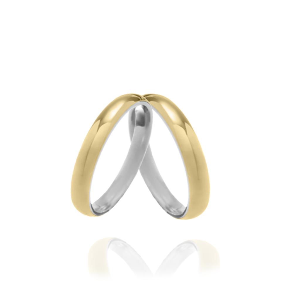 Aliança em Ouro 10k com Prata 950 Meia Cana Largura : 3,0 mm