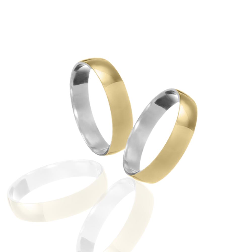 Aliança em Ouro 10k com Prata 950 Meia Cana Largura : 4,0 mm