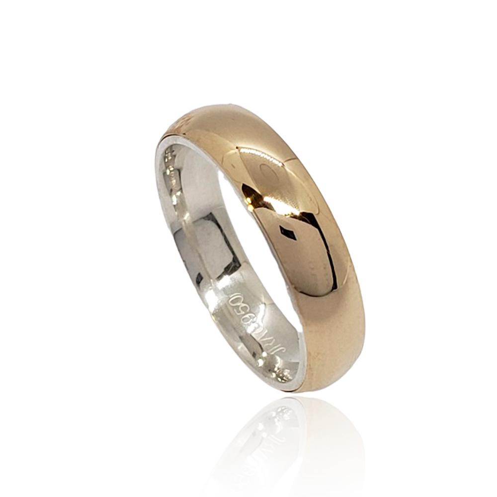 Aliança em Ouro 10k com Prata 950 Meia Cana Largura : 5,0 mm