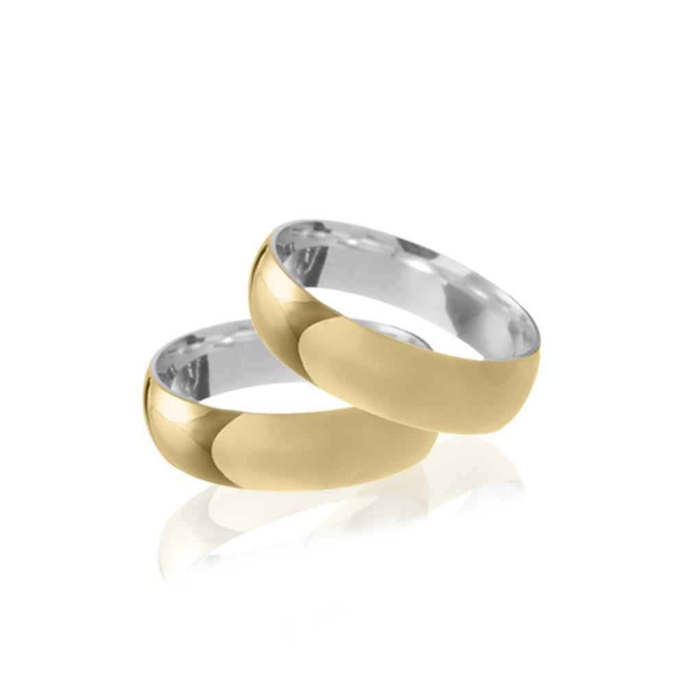 Aliança em Ouro 10k com Prata 950 Meia Cana Largura : 6,0 mm