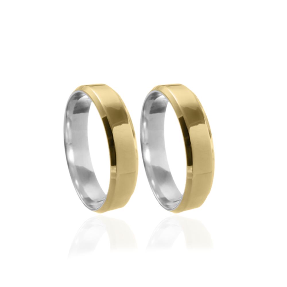 Aliança em Ouro 10k com Prata 950 Plana Facetada Largura : 5,5 mm