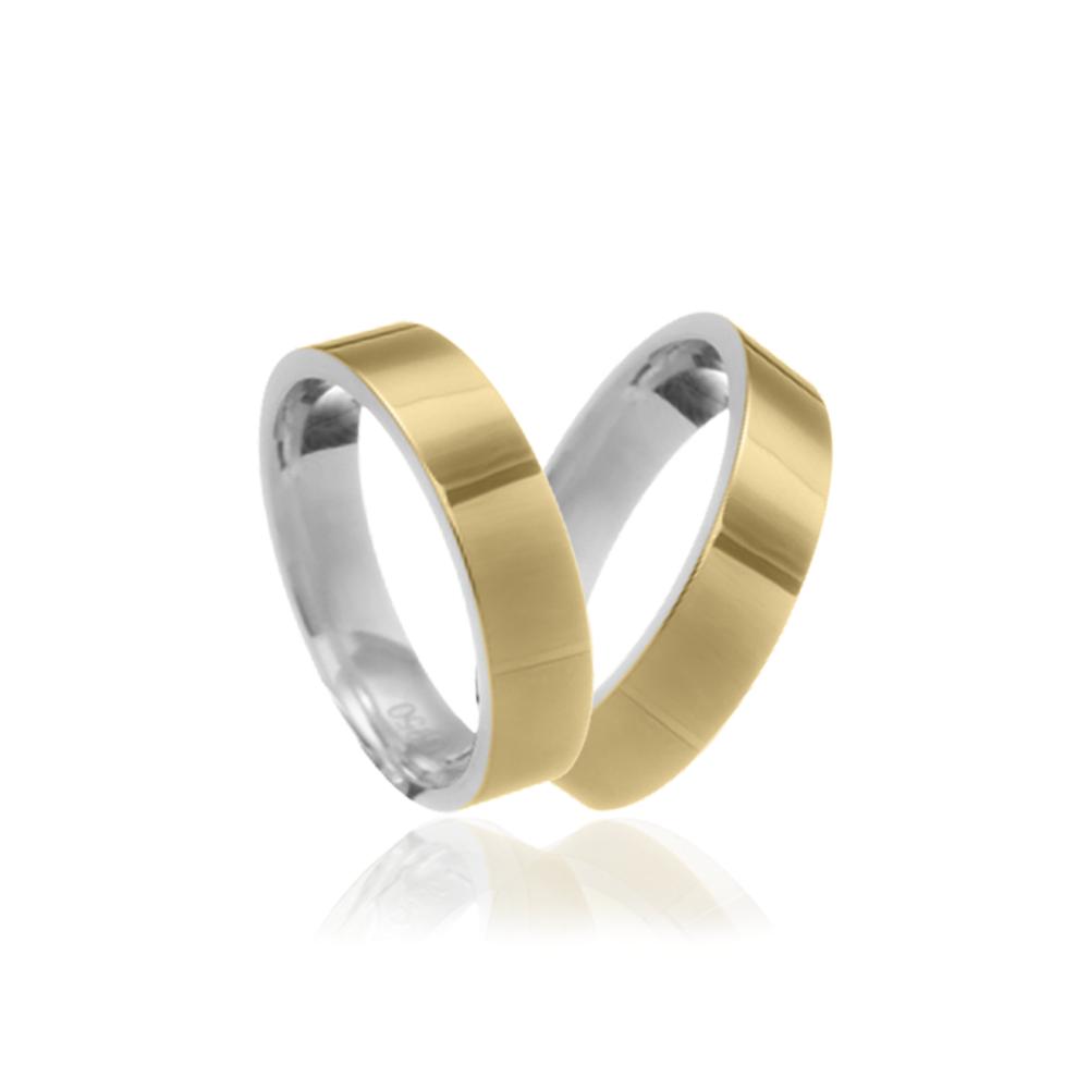 Aliança em Ouro 10k com Prata 950 Plana Largura : 4,0 mm