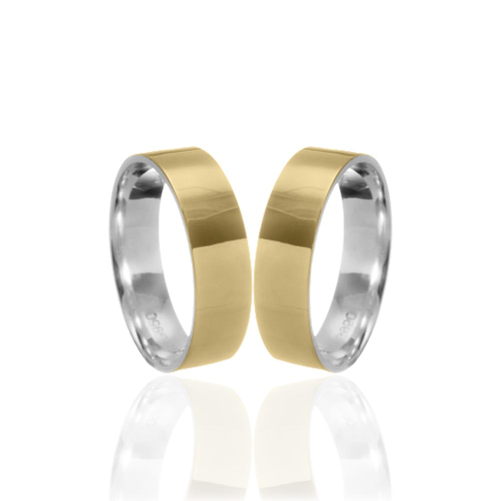 Aliança em Ouro 10k com Prata 950 Plana Largura : 6,0 mm