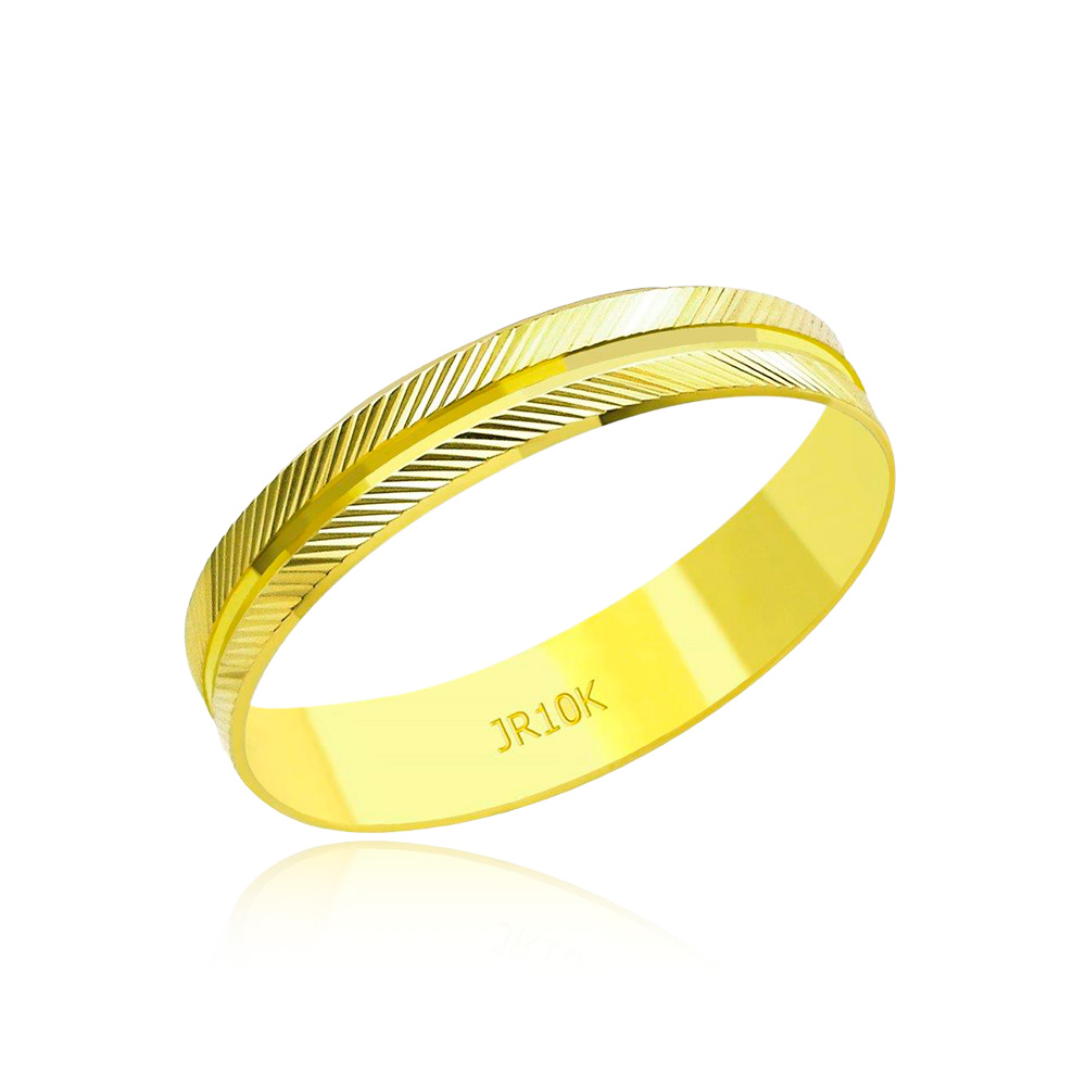 Aliança em Ouro 10k Diamantada Largura : 3,8 mm