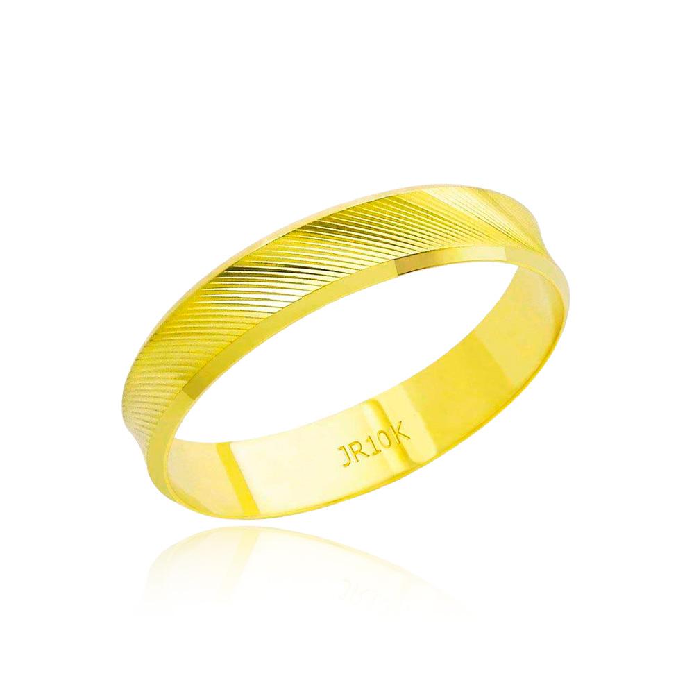 Aliança em Ouro 10k Diamantada Largura : 4,3 mm