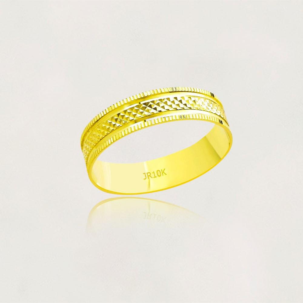 Aliança em Ouro 10k Diamantada Largura : 5,0 mm