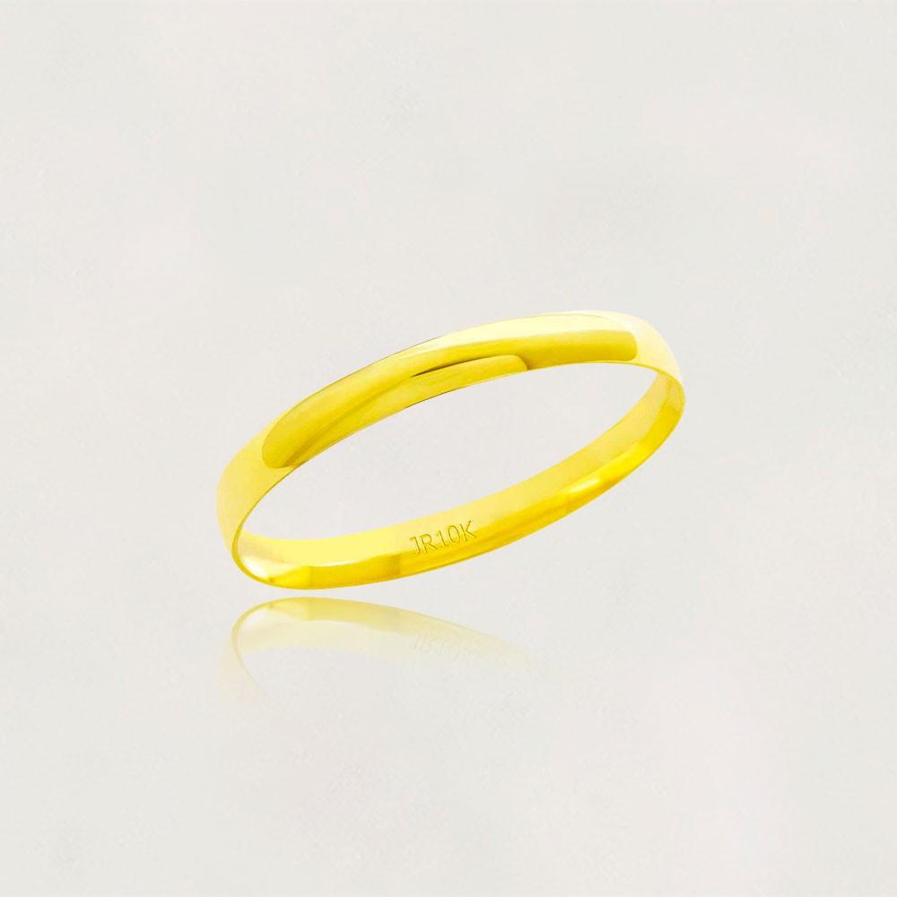 Aliança em Ouro 10k Meia Cana Largura : 2,2 mm