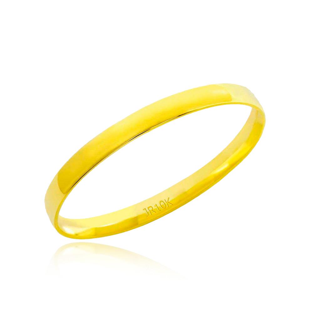 Aliança em Ouro 10k Meia Cana Largura : 2,5 mm