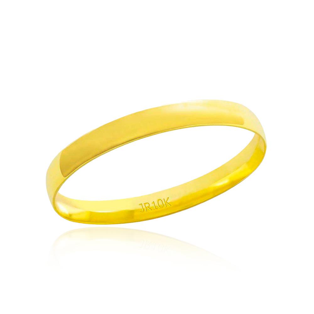 Aliança em Ouro 10k Meia Cana Largura : 3,0 mm