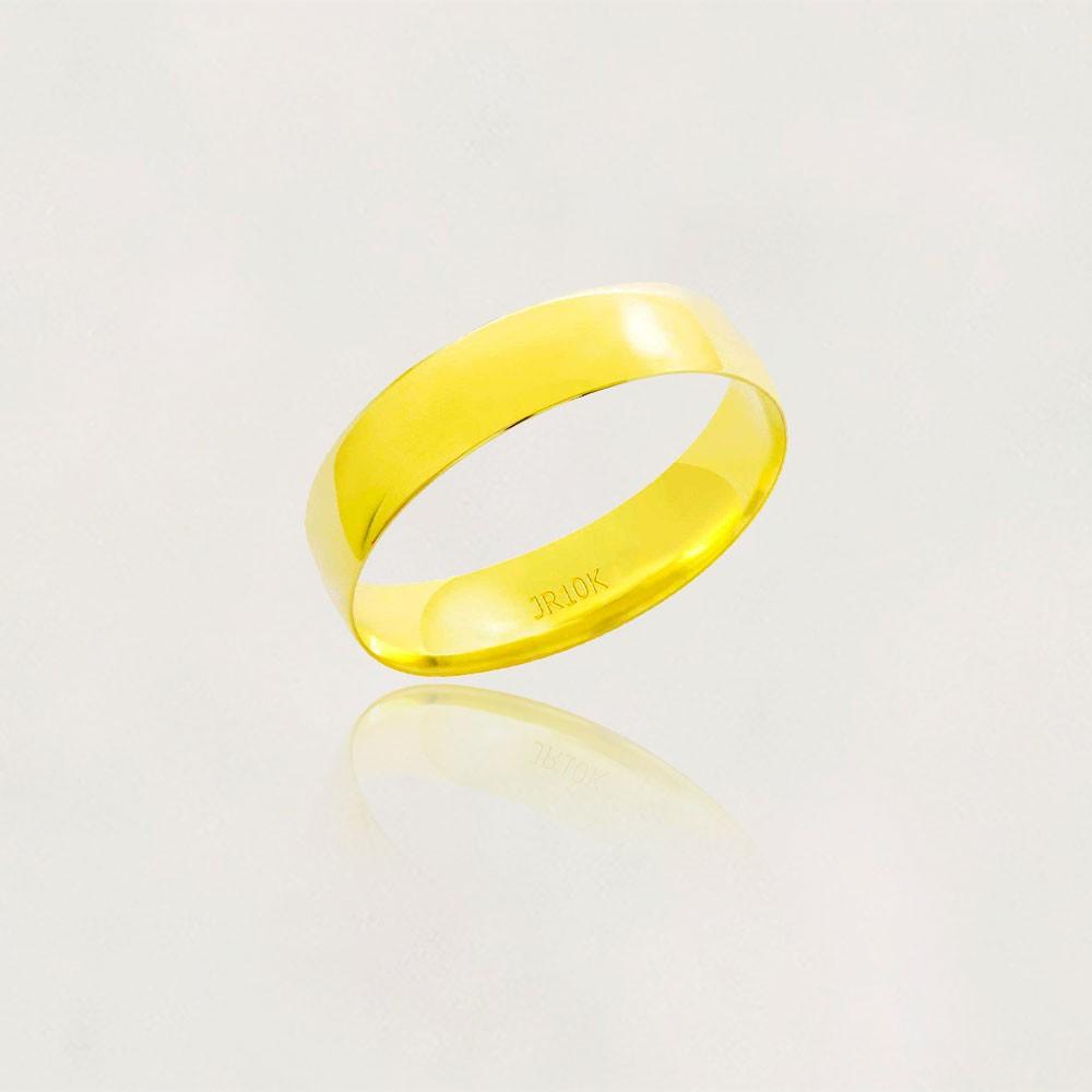 Aliança em Ouro 10k Meia Cana Largura : 5,0 mm