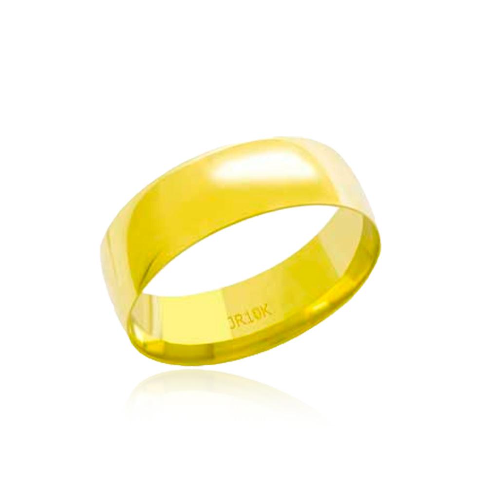 Aliança em Ouro 10k Meia Cana Largura : 6,5 mm