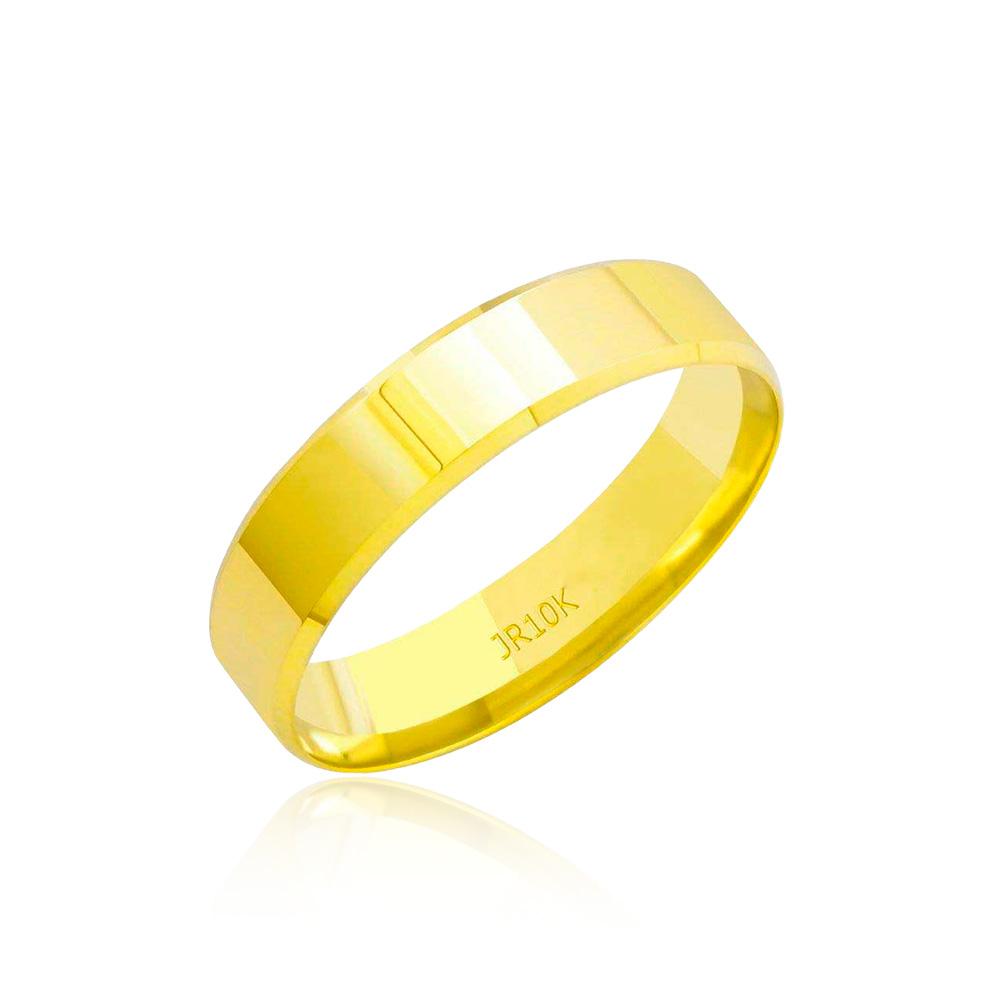 Aliança em Ouro 10k Plana Facetada Largura : 4,6 mm