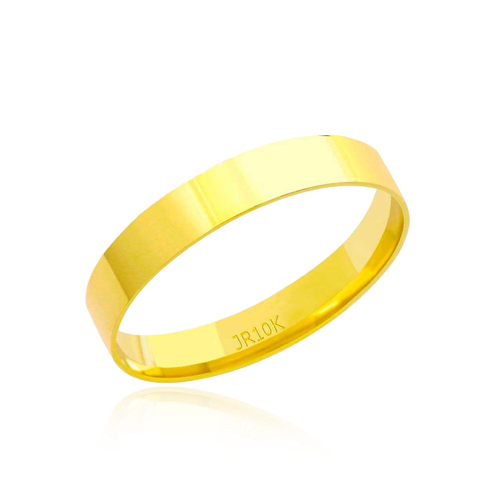 Aliança em Ouro 10k Plana Largura : 3,5 mm