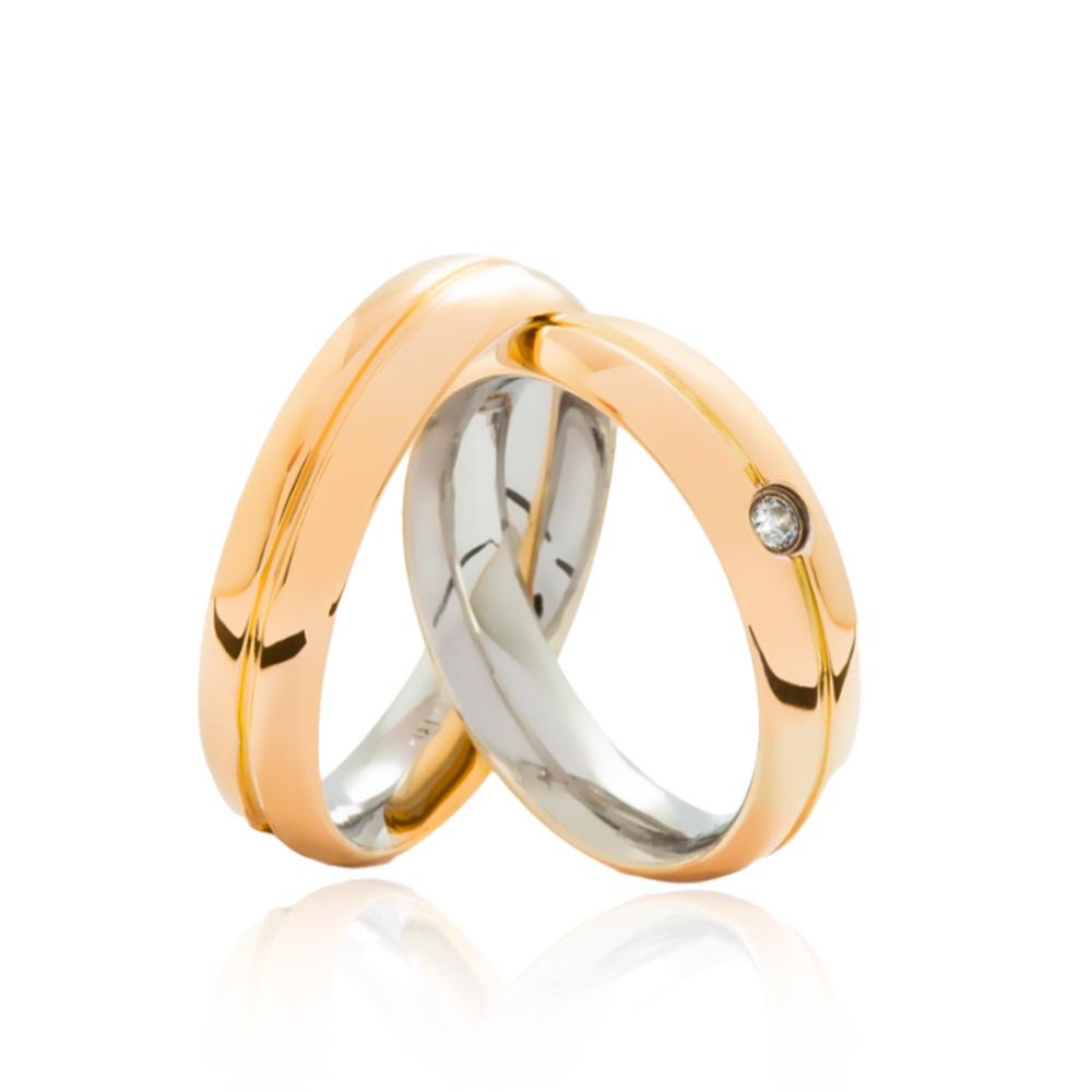 Aliança em Ouro 18k com Aço Cirúrgico Largura : 5,3 mm