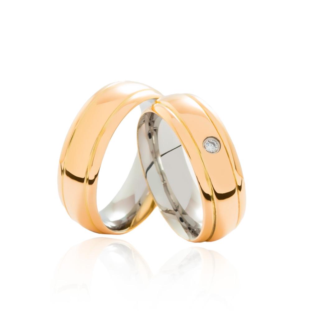 Aliança em Ouro 18k com Aço Cirúrgico Largura : 7,3 mm
