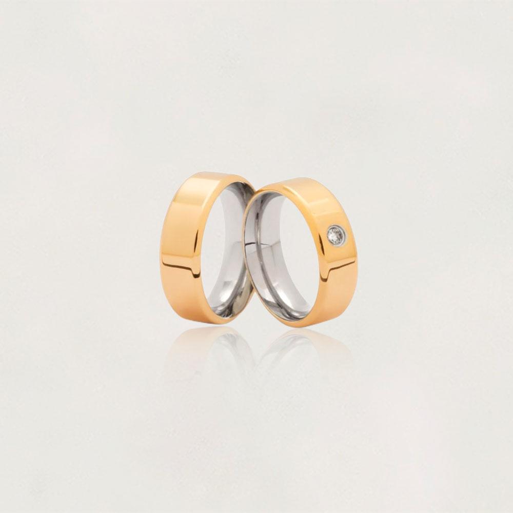Aliança em Ouro 18k com Aço Cirúrgico Largura : 7,4 mm