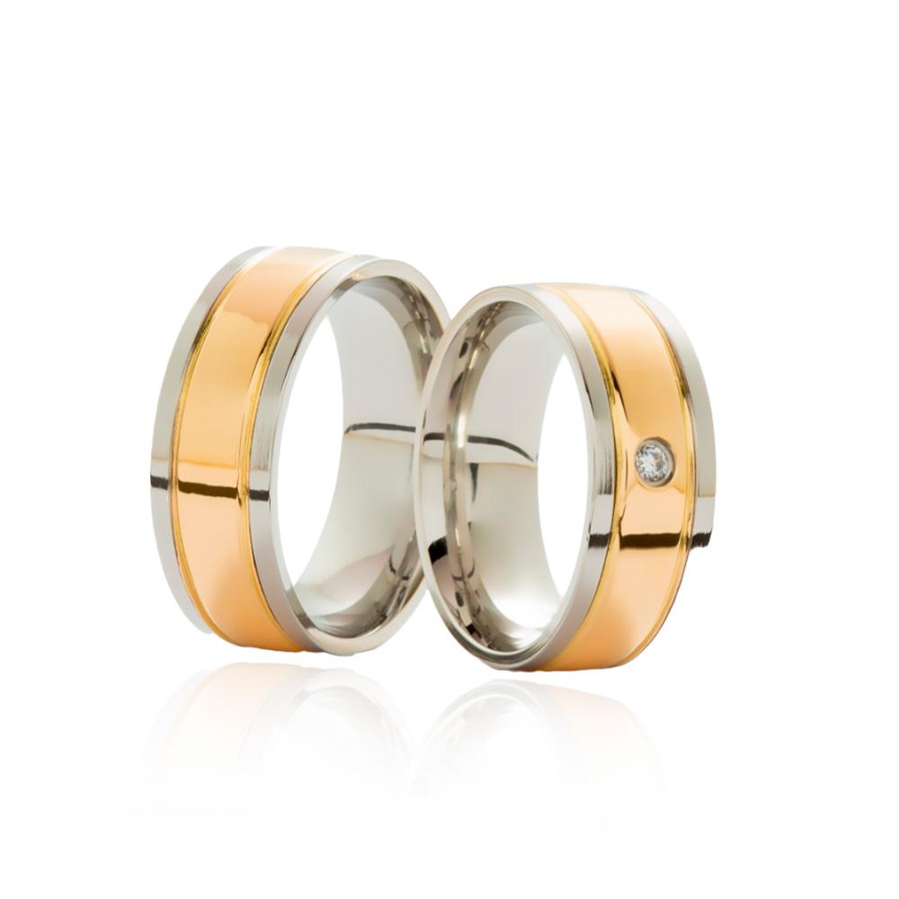 Aliança em Ouro 18k com Aço Cirúrgico Largura : 7,8 mm