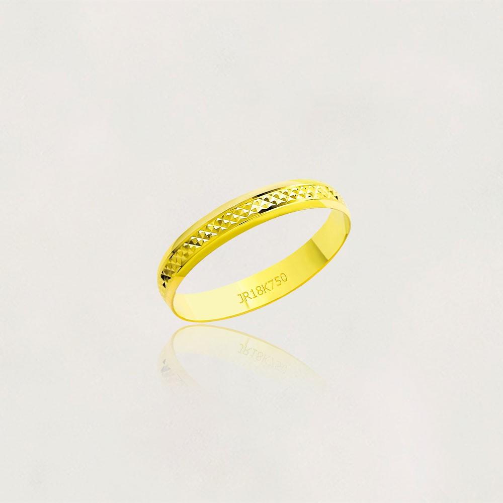 Aliança em Ouro 18k Diamantada A43F Largura : 3,50 mm