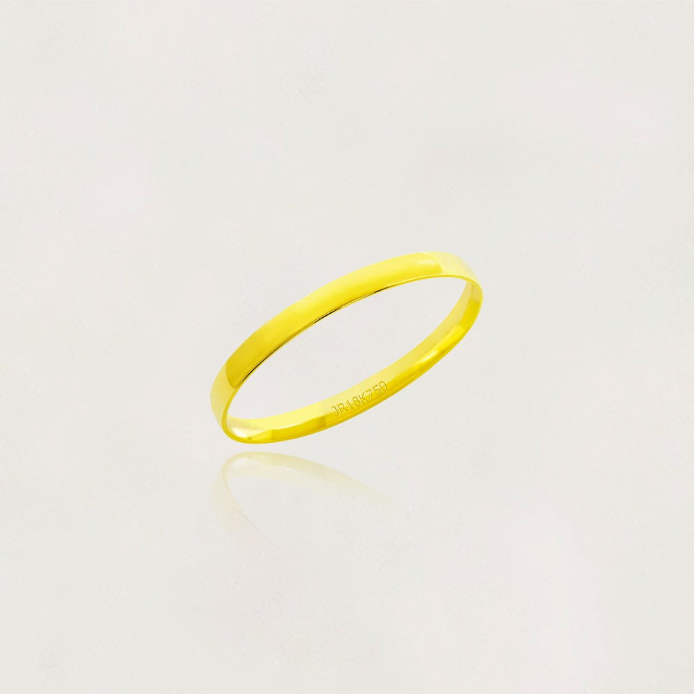 Aliança em Ouro 18k Meia Cana AT252 Anatômica Largura : 2,50 mm